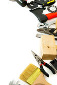 Many working tools - axe, hammer, scissors and others on white background. — Stock Photo