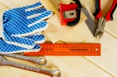 Many working tools on a wooden background. — ストック写真