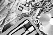 Metalwork. Spanner, box and others tools. — Stock Photo