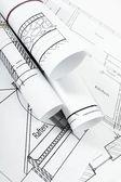 Zeichnungen für Hausbau. Arbeiten Zeichnungen. — Stockfoto