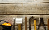 Various tools on a wooden background. — Stock Photo