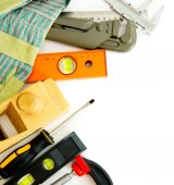 Many working tools - caliper, ruler and others on white background. — Stock Photo