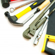 Many working tools - saw, axe, pliers and others on white background. — Stock Photo #69176895