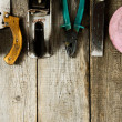 Many working tools on a wooden background. — Stock Photo #69178235