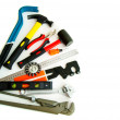 Many working tools - saw, axe, pliers and others on white background. — Stock Photo #69178795