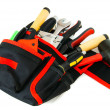 Many working tools in the carrying case on white background. — Stock Photo #69178829