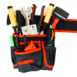 Many working tools in the carrying case on white background. — Stock Photo #69178863