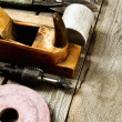 Many working tools on a wooden background. — Stock Photo #69179089