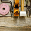 Many working tools on a wooden background. — Stock Photo #69179151