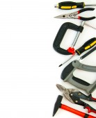 Many working tools - clamp, hammer and others on white background. — Stock Photo