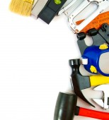 Many working tools - stapler, pliers and others on white background. — Stock Photo