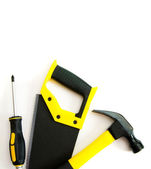 Many working tools - hammer, saw and others on white background. — Stock Photo