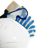Many working tools - helmet, glove and others on white background. — Stock Photo