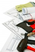 Drawings for building and working tools on white a background. — Stock Photo