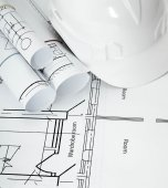 Drawings for building house and helmet. Working drawings. — Stock Photo