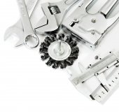 Metalwork. Ruler, caliper and others tools on white background. — Stock Photo