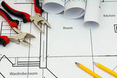 Drawings for building house and working tools. — Stock Photo