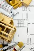 Repair work. Joiners works. Drawings for building, working tools and wooden house. — Stock Photo