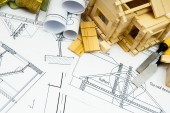 Joiners works. Drawings for building, working tools and small wooden house. — Stock Photo