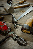 Various tools on a wooden background. — Stock fotografie