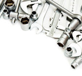 Metalwork. Spanner , ruler, caliper and others tools on white background. — Stock Photo