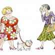 Fat woman with dog walking meeting thin lady — Stock Photo #63163599