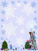 Christmas background.snowman.  frame. — Vector de stock