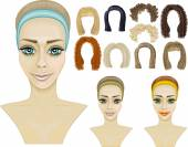 Faces of three girls.make-up.hairstyles.game — Stock Vector