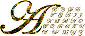 Multi-colored font,English alphabet.autumn leaves — Stock Vector