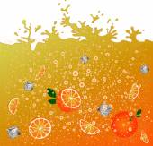 Carbonated orange drink. background. Advertising banner.  Ice and oranges. Juice. Orange citrus cocktail. Splashes. — Stock Vector