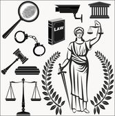 Court.Set of icons on a theme the judicial.law.Themis.justice. — Stock Vector