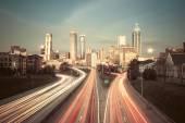 Vintage style image of Atlanta skyline — Stock Photo