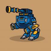 Blue Cannon Robot — Stock Vector