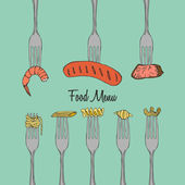 Restaurant Menu Element on Fork — Stock Vector
