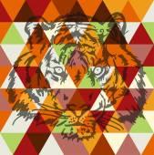 Tiger face poster art — Vetorial Stock
