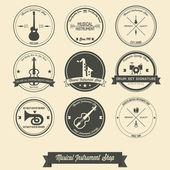 Musical Instrument Shop Vintage Label — Stock Vector