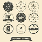 Musical Course Vintage Label — Vector de stock