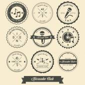 Karaoke Vintage Label — Stock Vector