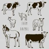 Farm animal marker sketch drawing — Stockvektor