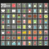 Creative design of 70 Groceries Flat Item — Stockvector