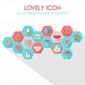 Lovely Icon Flat Design Long Shadow — Stock Vector