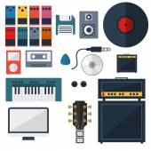 My Music Studio Instrument Flat Design — Stock Vector