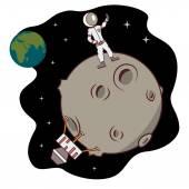 Isolated cartoon moon landing selfie time — Stock Vector