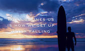 Silhouette of a surfer on the ocean with motivational words — Stock Photo