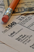 Tax form with pencil — Stock Photo