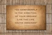 Thoreau quote - Go Confidently — Stock Photo