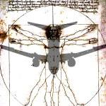 Airplane over Da Vinci's Vitruvian Man — Stock Photo #71686103