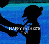 Ather and son silhouettes — Stock Photo