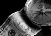 Old Compass and Money — Stock Photo