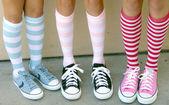 Girls in colorful socks — Stock Photo